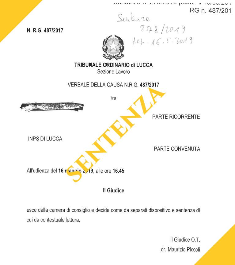 sentenza tribunale di Lucca